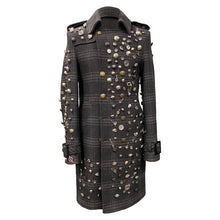Load image into Gallery viewer, Men Checkered Coat With Decorative Metallic Buttons