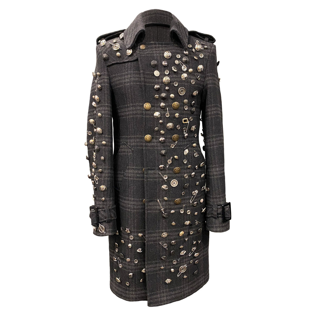 Men Checkered Coat With Decorative Metallic Buttons