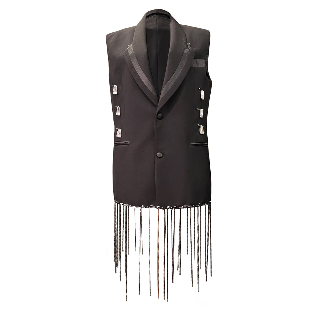 Black Vest With Hand-Painted Details, Safety Pins And Chains