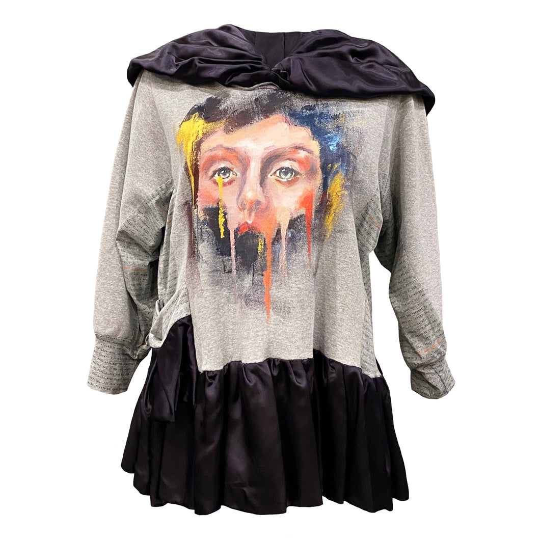Grey Hoodie With Hand-Painted Design - Face