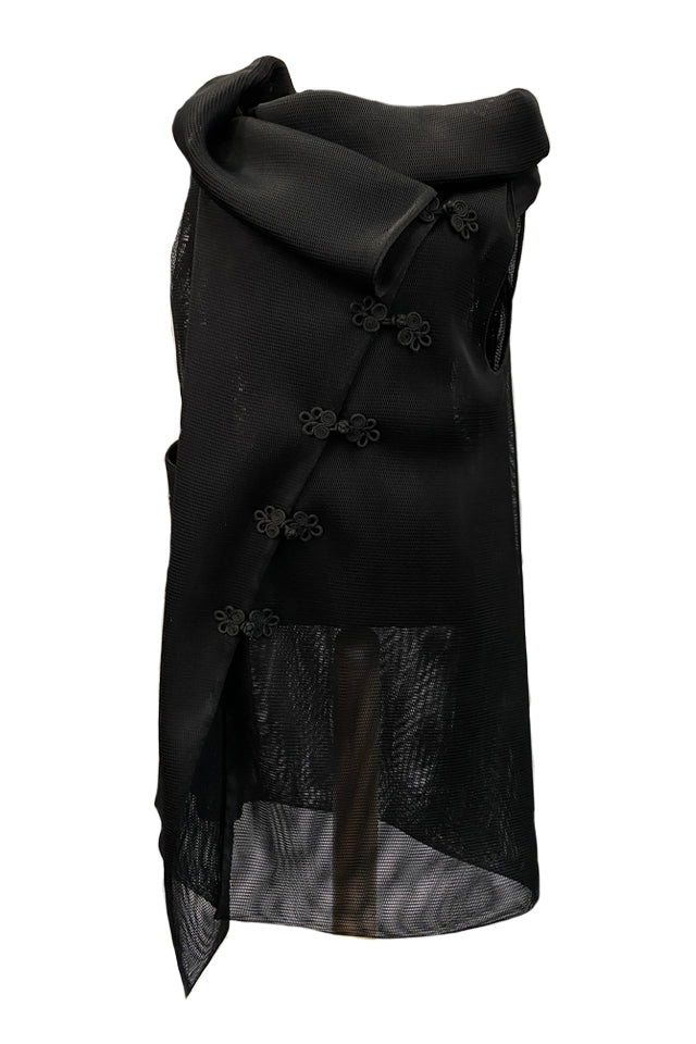 Midi Black Mesh Vest With Handmade Embroidery