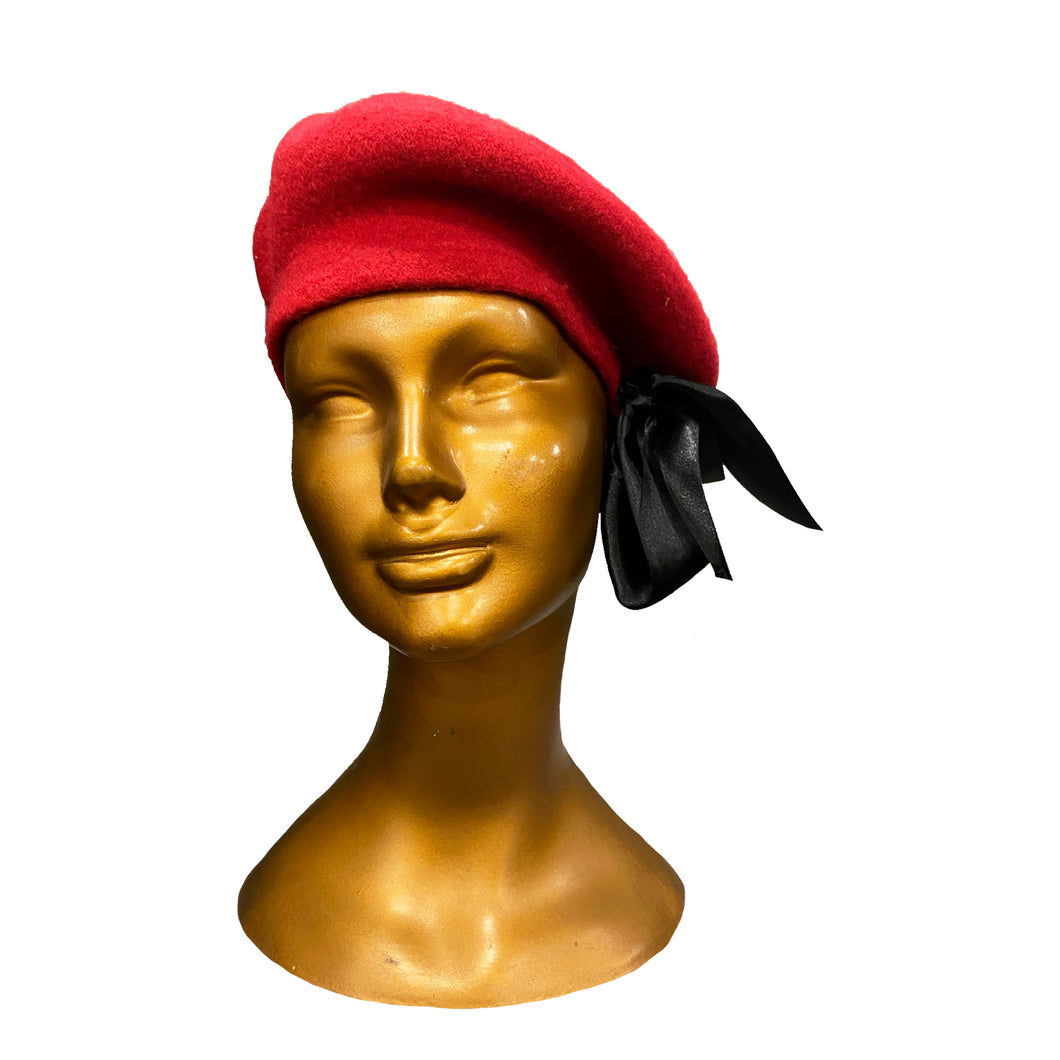 Red Beret With A Black Ribbon