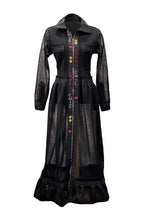 Load image into Gallery viewer, Long Black Mesh Dress With Handmade Embroidery