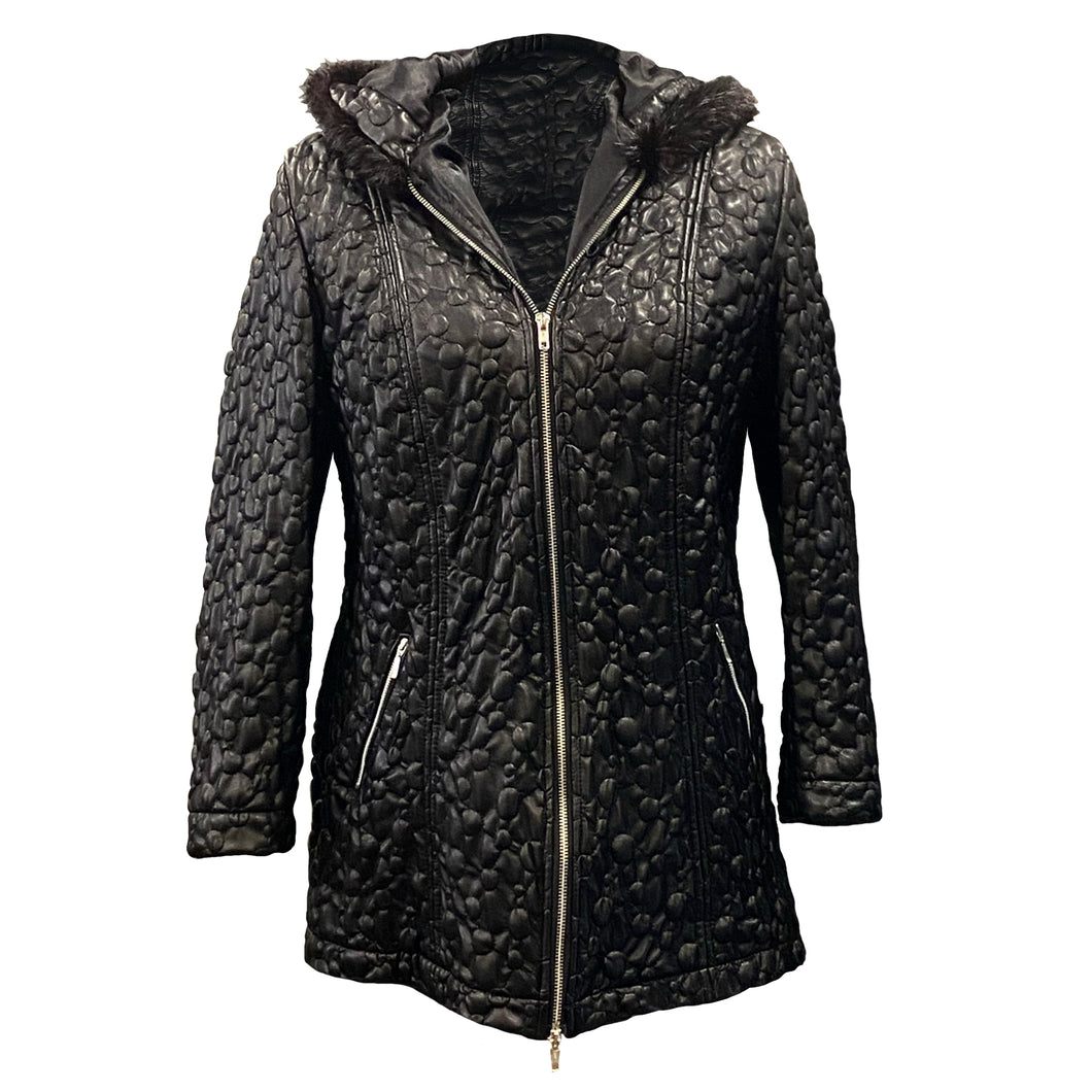 Black Faux Leather Jacket With A Fur Lined Hood
