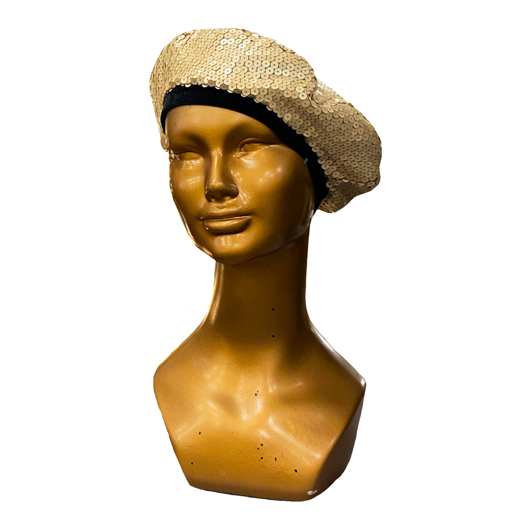 Golden Sequin Beret