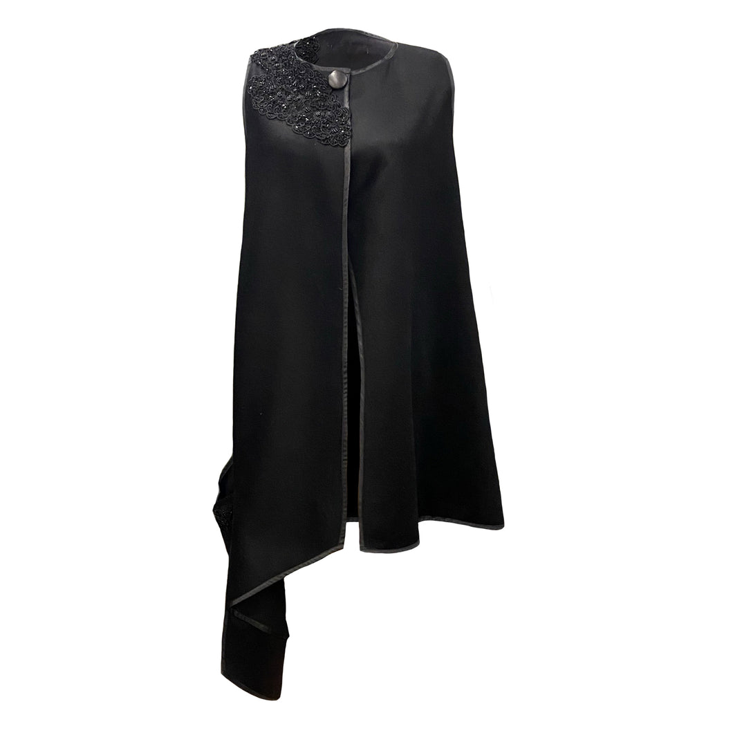 Black Wool Cape With Black Embroidery