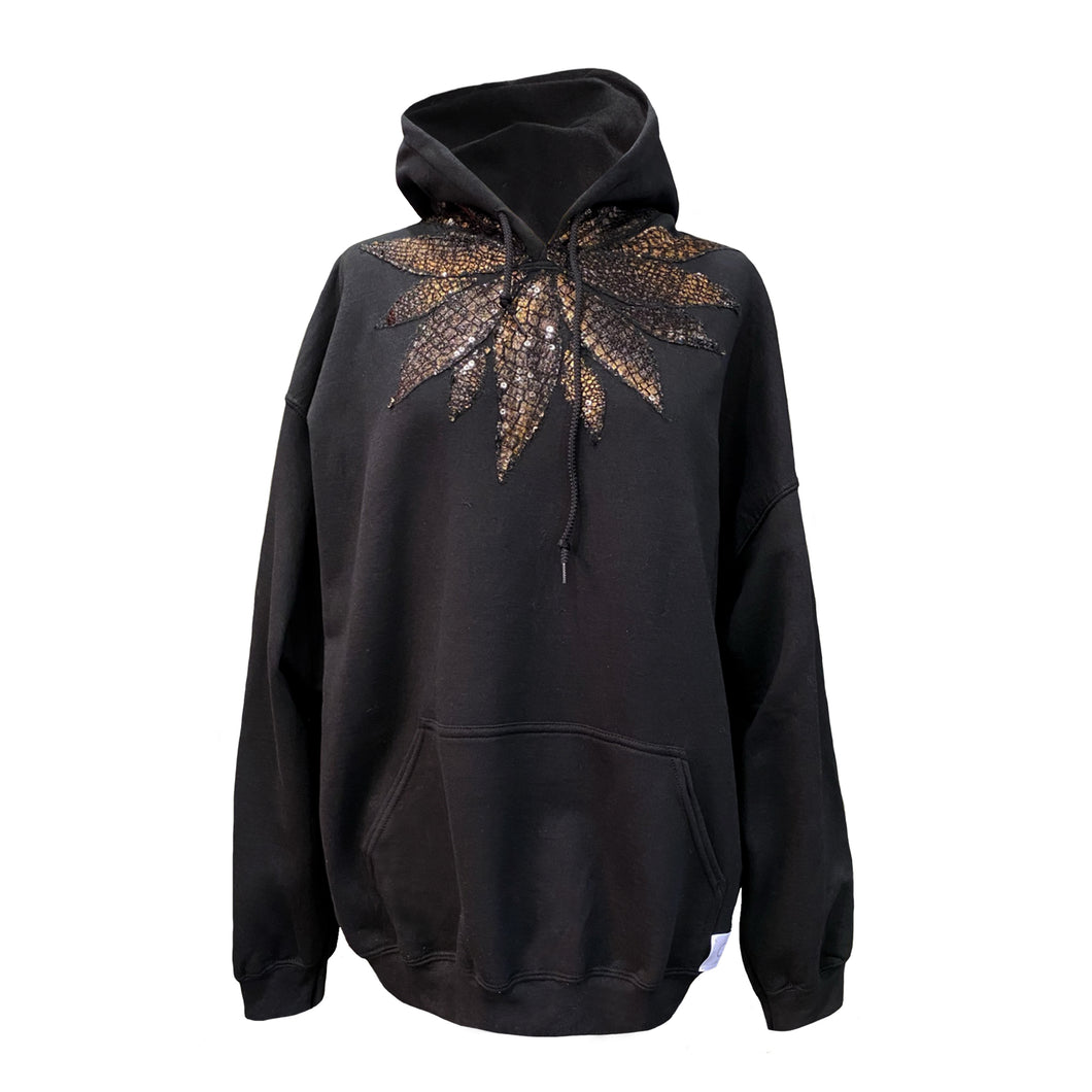 Black Hoodie With Copper Sequin Embroidery