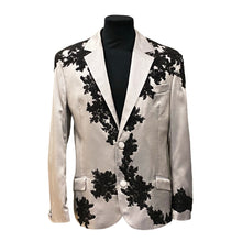 Load image into Gallery viewer, Silver Satin Jacket With Black Embroidery