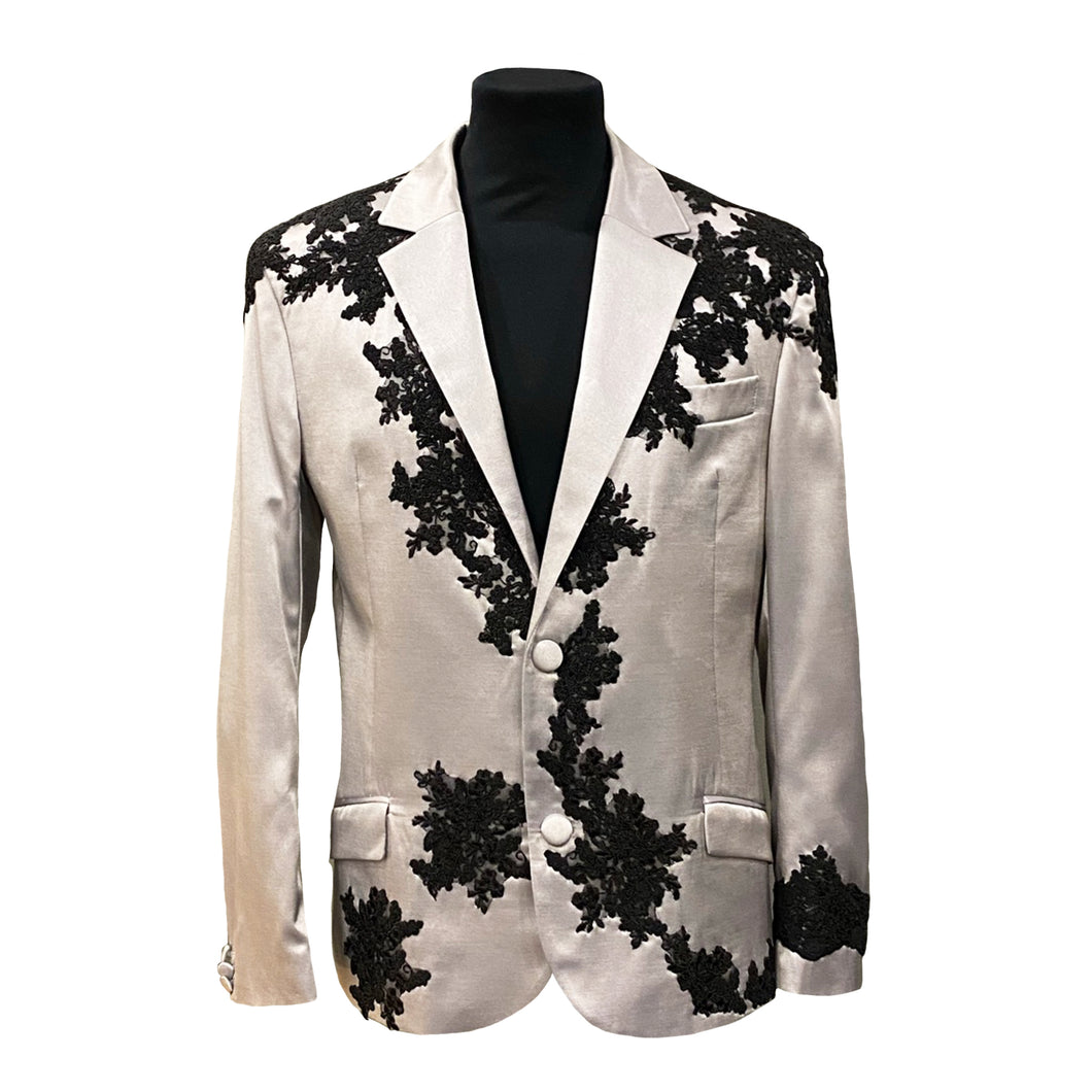 Silver Satin Jacket With Black Embroidery