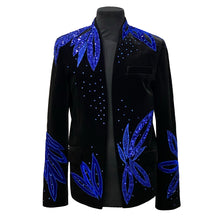 Load image into Gallery viewer, Black Velvet Jacket With Blue Embroidery And Swarovski Crystals