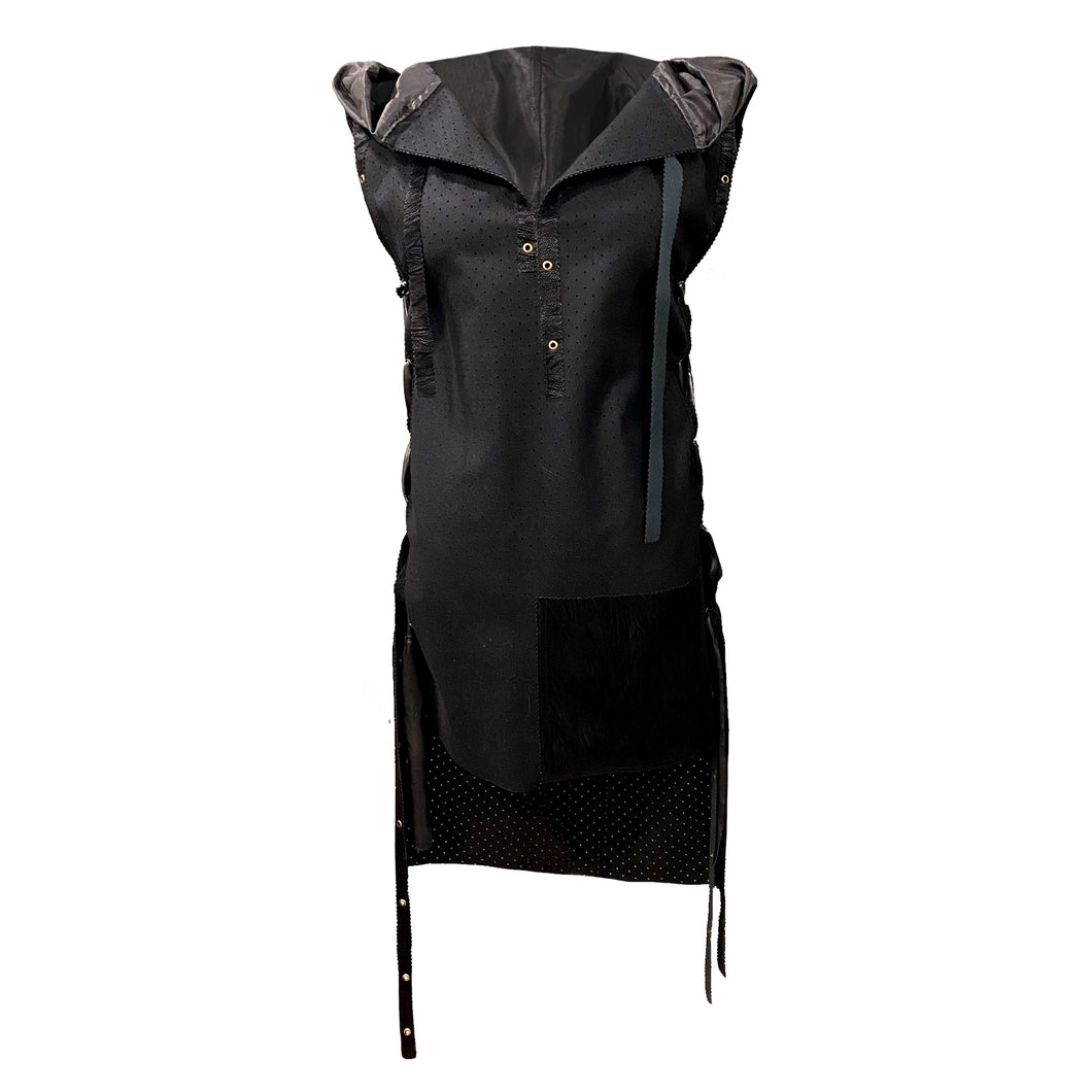 Asymmetrical Black Wool Vest