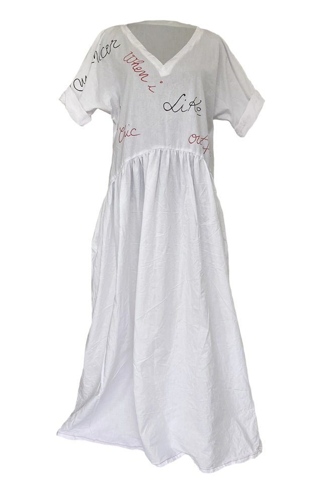 Perfection/Authenticity - White Hand-Painted Dress