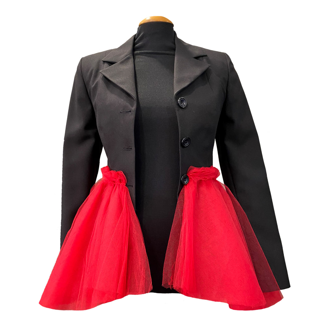 Black Jacket With Red Tulle