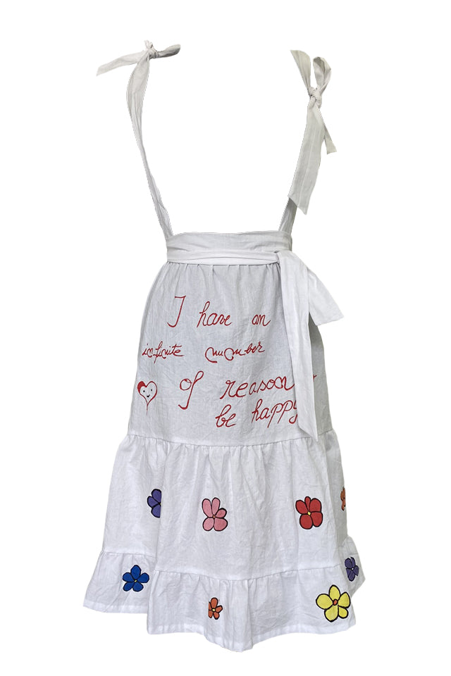Flowers - White Hand-Painted Dress