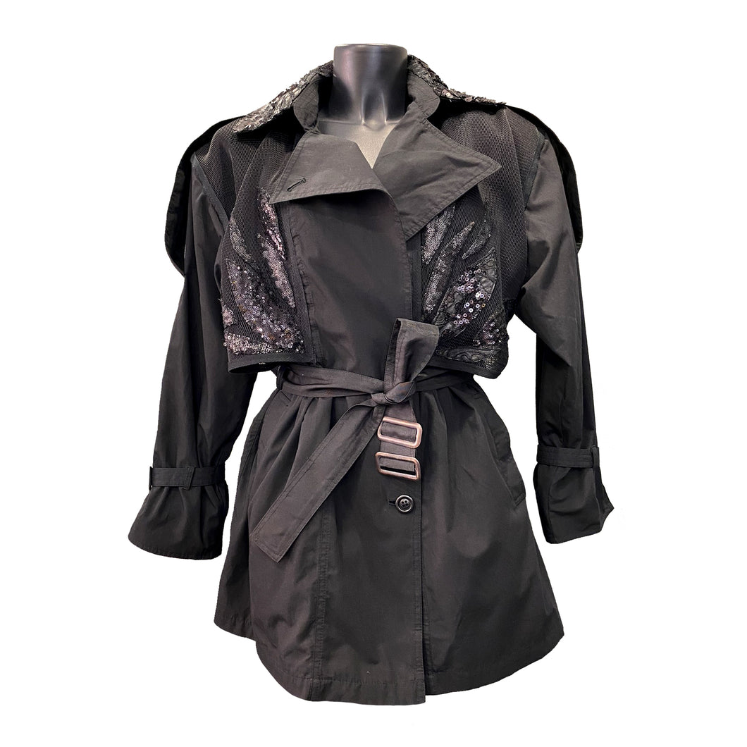 Black Light Trench Coat With Sequin Details