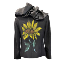 Load image into Gallery viewer, Black Jacket With A Taffeta Collar And Hand-Painted Sunflowers