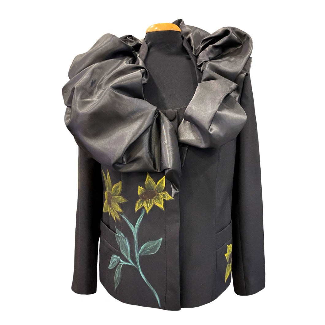 Black Jacket With A Taffeta Collar And Hand-Painted Sunflowers
