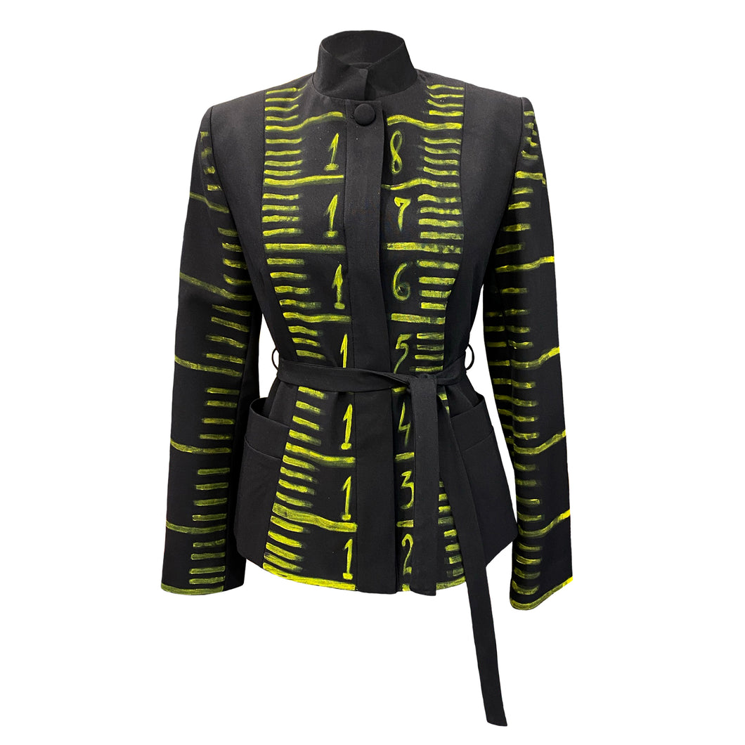 Hand-Painted Black Jacket - Measuring Tape