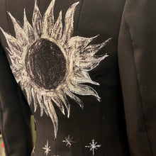 Load image into Gallery viewer, Hand-Painted Black Jacket - Sun & Moon