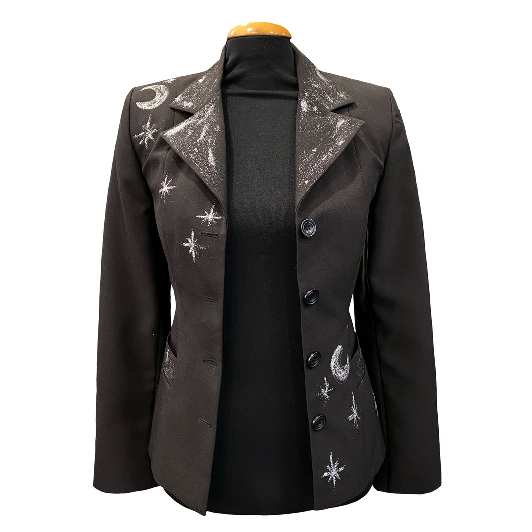 Hand-Painted Black Jacket - Sun & Moon
