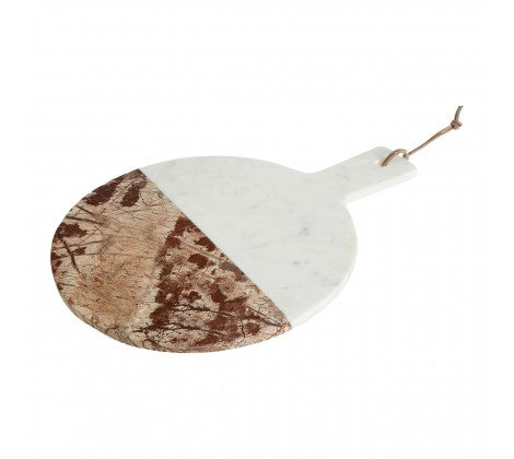 White / Brown Marble Round Paddle Board
