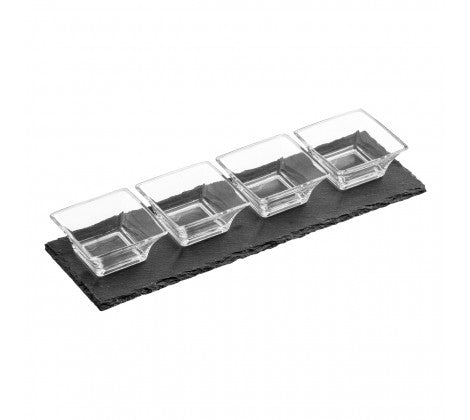 4 Fluted Glass Bowls Slate Tray Set