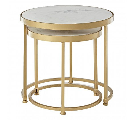 White Marble/Metal Base Nesting Tables
