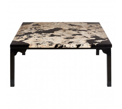 Cheese Stone/Black Resin Coffee Table