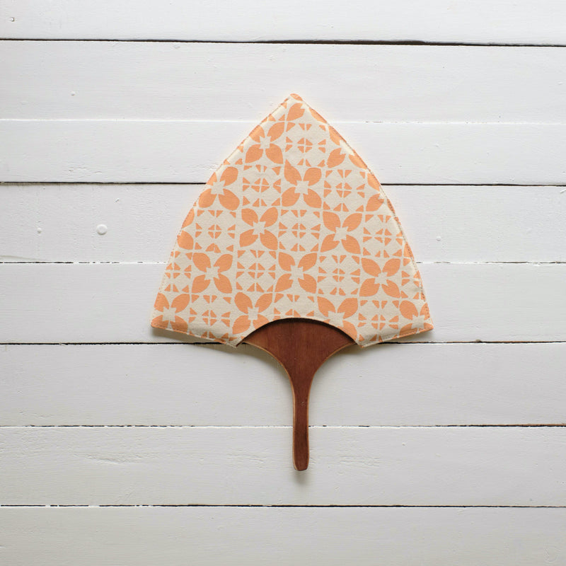 Handprinted Fan with Wooden Handle - Bua Block Print