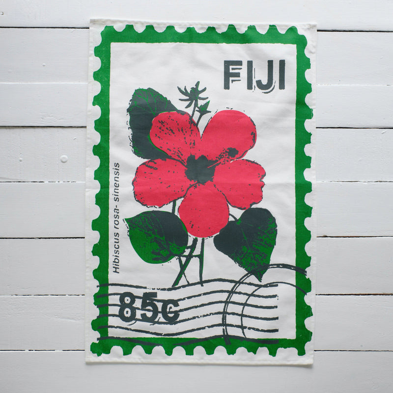 Hibiscus Stamp Print Tea Towel
