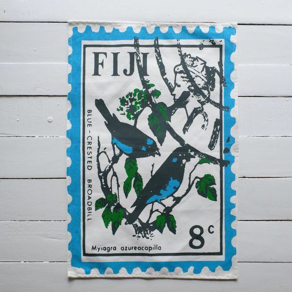 Blue-Crested Broadbill Stamp Tea Towel