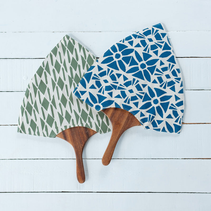 Handprinted Fan with Wooden Handle