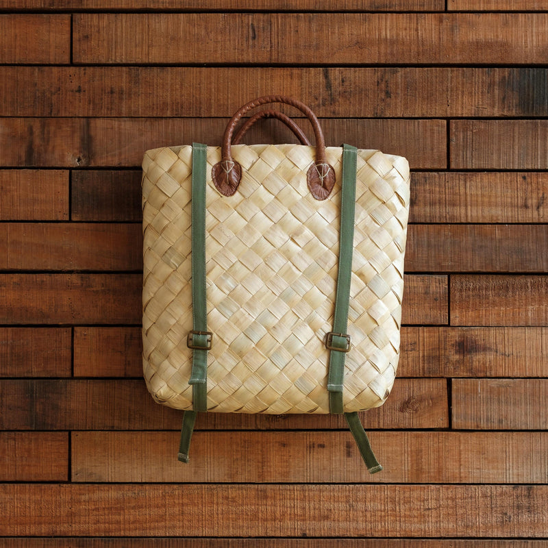 Handwoven Backpack with Handcrafted Leather Handles
