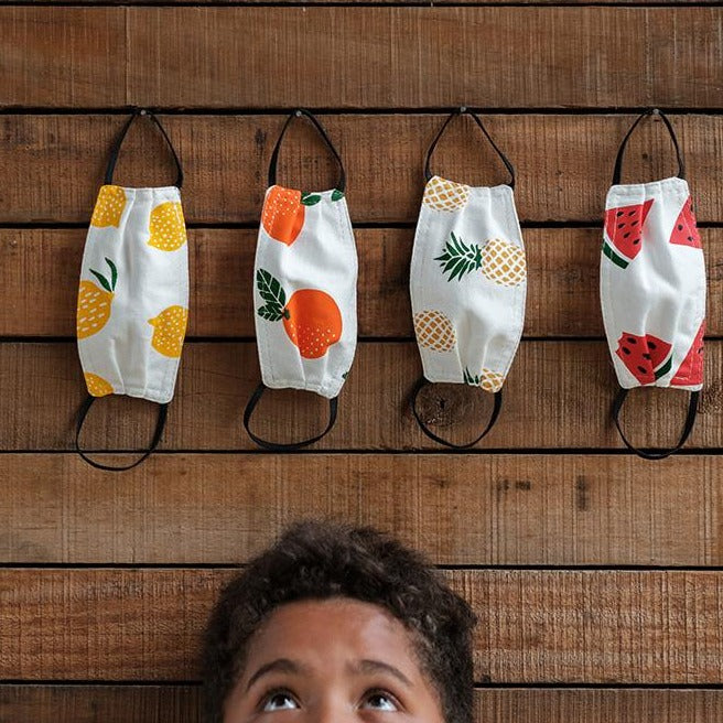 Washable Fabric Kid's Face Mask – Assorted Fruit Pack Set Of Four (4)