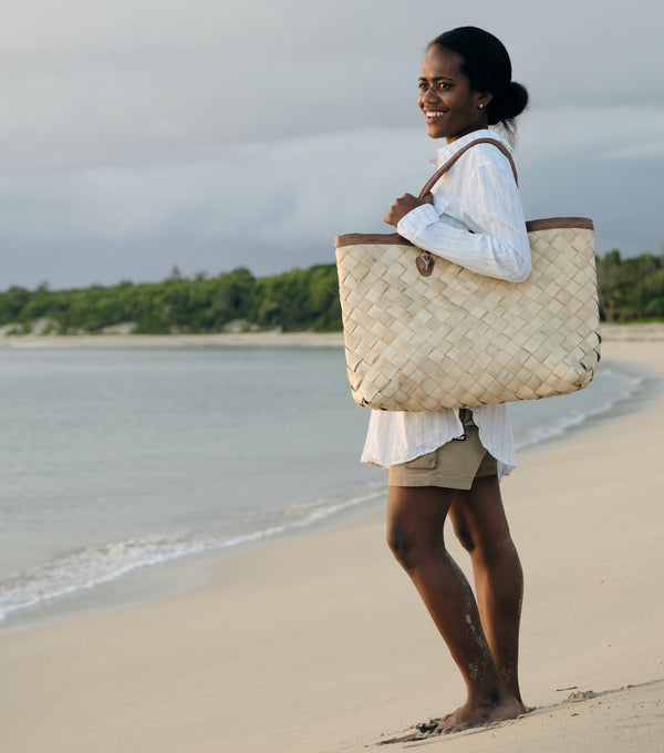 Handwoven Oversized Tote Bag - Natural
