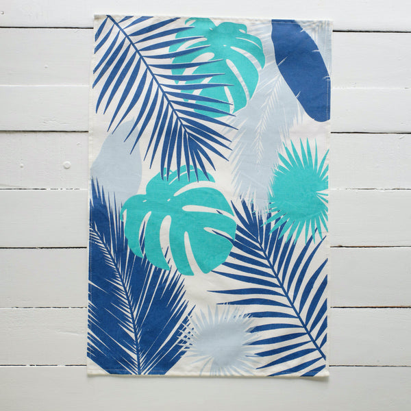 Handprinted Tropical Leaf Tea Towels