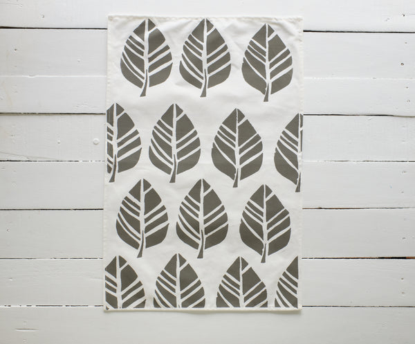 Handprinted Tavola Leaf Tea Towels