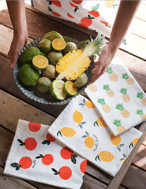 Handprinted Fruit Tea Towels