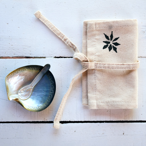 Hand-carved Salt Dish with Teaspoon & Canvas Sleeve
