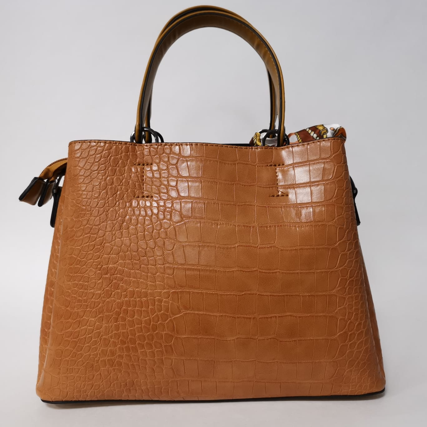 Amy Croc Handbag in Mustard
