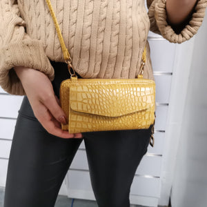 Croco Wallet Bag Mustard