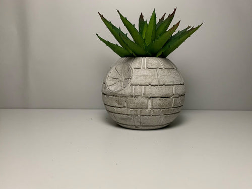 STAR WARS PLANTER - 10cm - Air Plant Holder - Death Star Planter - Concrete Plant Pot - Concrete Death Star - Indoor Gardening - Home Decor - betonven