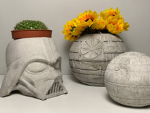 Load image into Gallery viewer, STAR WARS PLANTER - 10cm - Air Plant Holder - Death Star Planter - Concrete Plant Pot - Concrete Death Star - Indoor Gardening - Home Decor - betonven