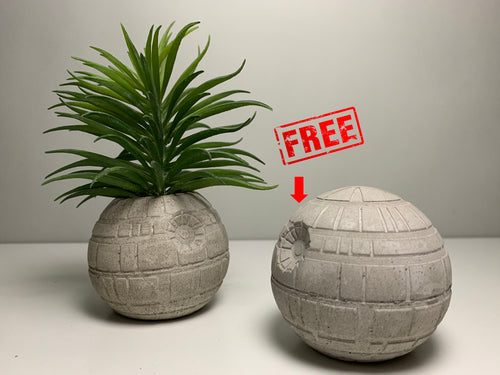 STAR WARS Planter & Paperweight- 6cm - Air Plant Holder - Death Star Planter - Concrete Plant Pot - Concrete Death Star - betonven