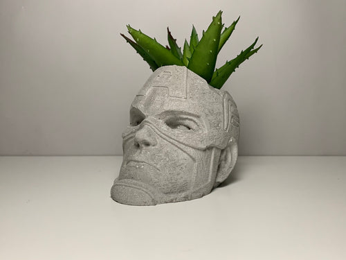 Marvel - Captain America  -  Concrete Helmet Planter - Face Planter Pot - The Avengers - betonven