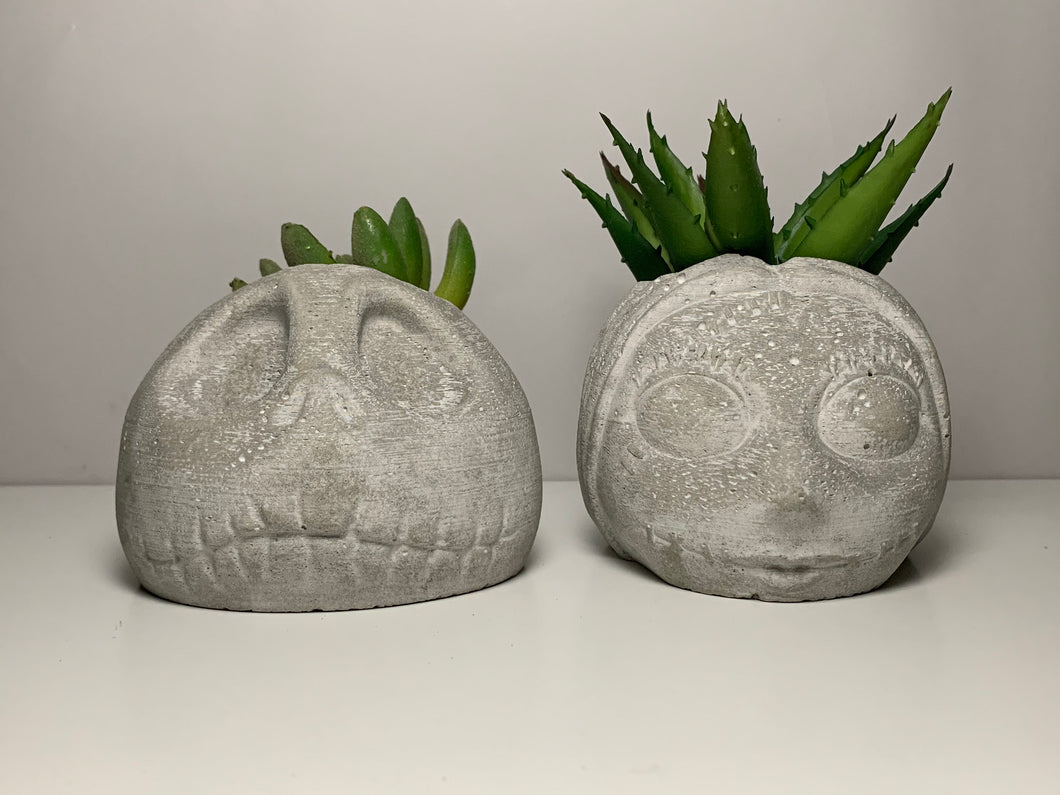 The Nightmare Before Christmas - Face Planters - Concrete - Indoor Planters -Jack Skellington - Sally - Modern - Housewarming Gift - betonven