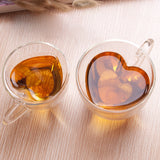 Double Wall Glass Heat-Resisting  Heart Shaped Mug