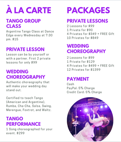 Strictly Tango pricing