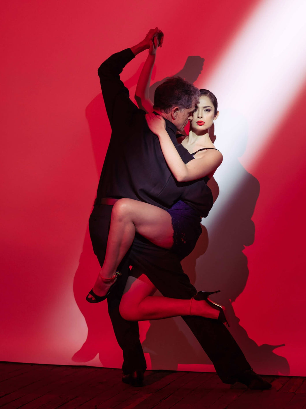 Rojo Tango - Argentine Tango Red Shadows, Tanguera in the Spotlight- Latin Dance Poster - Performance