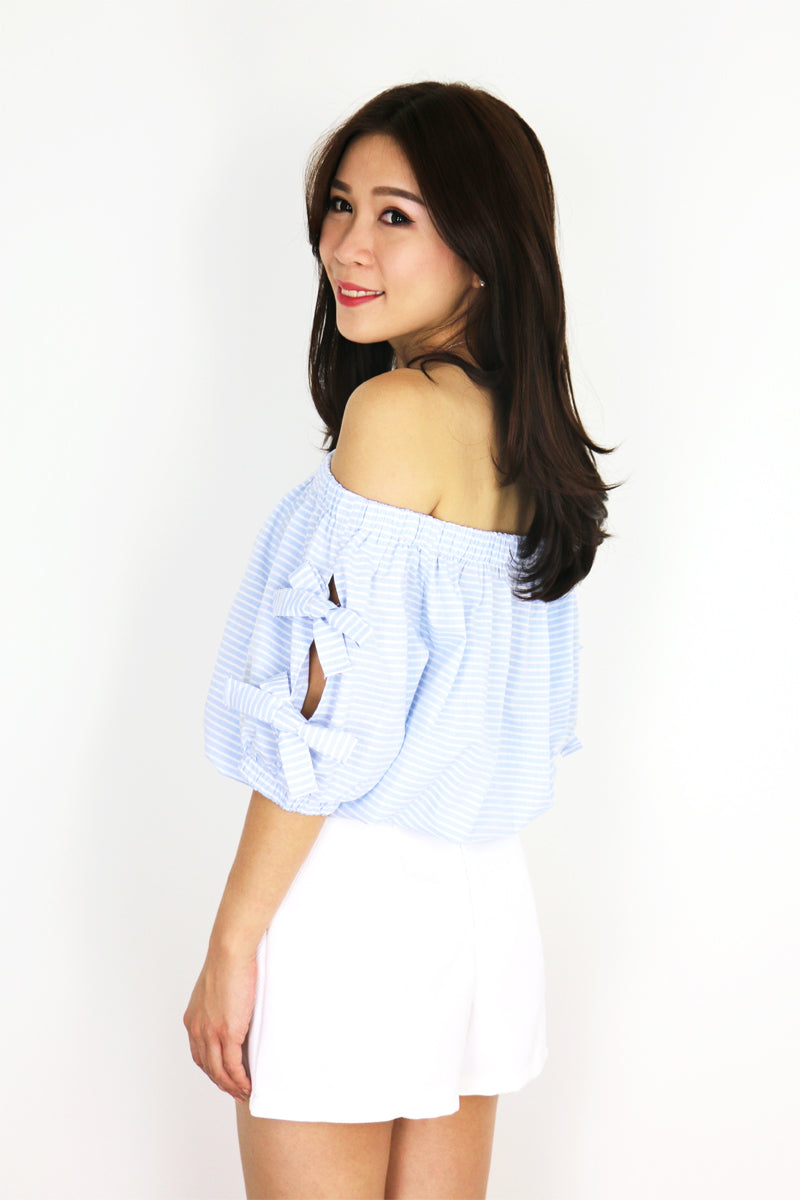 Iolanda Pinstripe Off Shoulder Top